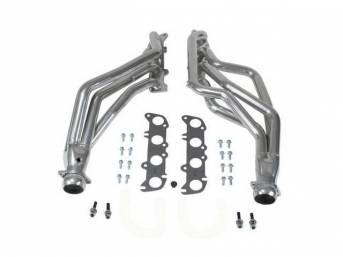 Headers, Full Length Long Tube, Bbk Performance, Ceramic Coated Finish, Made From 1 3/4 Inch Cnc Mandrel Bent Tubing, Incl One Piece 3/8 Inch Laser Cut Mounting Flanges, Incl Gaskets And Hardware