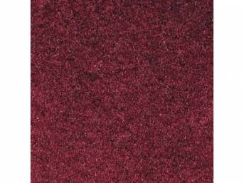 Carpet, Standard Cut Pile Nylon, Molded, Ruby Red, Incl Complete Passenger Area Only, Jute Padding, Correct Heal Pad, Does Not Incl Rear Hatchback Carpet, Repro
