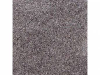 Carpet, Standard Cut Pile Nylon, Molded, Opal Gray, Incl Complete Passenger Area Only, Jute Padding, Correct Heal Pad, Does Not Incl Rear Hatchback Carpet, Repro
