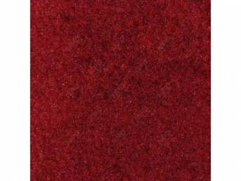 Carpet, Deluxe Cut Pile Nylon, Mass Back Molded, Medium Red, Incl Complete Passenger Area Only, Jute Padding, Correct Heal Pad, Does Not Incl Rear Hatchback Carpet, Repro