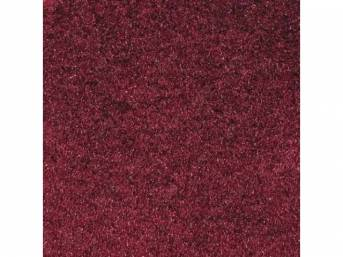 Carpet, Deluxe Cut Pile Nylon, Mass Back Molded, Ruby Red, Incl Complete Passenger Area Only, Jute Padding, Correct Heal Pad, Does Not Incl Rear Hatchback Carpet, Repro
