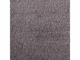 Carpet, Deluxe Cut Pile Nylon, Mass Back Molded, Medium Gray, Incl Complete Passenger Area Only, Jute Padding, Correct Heal Pad, Repro