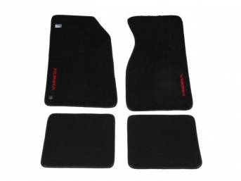 Floor Mats, Carpet, Cut Pile Nylon, Black /