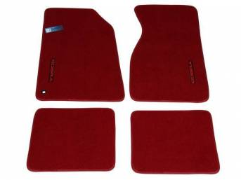 Floor Mats, Carpet, Cut Pile Nylon, Bright Red, W/ Red *Cobra * Text, Repro, Nibbed Backing For Non-Slip Design
