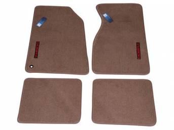 Floor Mats, Carpet, Cut Pile Nylon, Medium Parchment, W/ Red *Cobra * Text, Repro, Nibbed Backing For Non-Slip Design