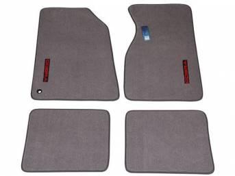 Floor Mats, Carpet, Cut Pile Nylon, Opal Gray, W/ Red *Cobra * Text, Repro, Nibbed Backing For Non-Slip Design