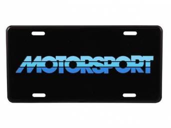Black With Tricolor Blue MOTORSPORT Logo License Plate
