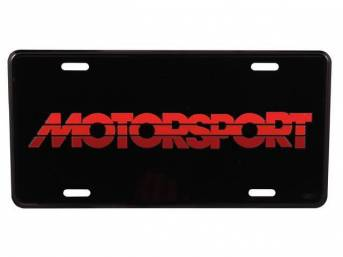 Black With Tricolor RED MOTORSPORT Logo License Plate