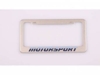 Two Tone Blue MOTORSPORT Logo License Plate Frame Stainless Steel