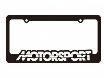 Black With White MOTORSPORT Logo License Plate Frame
