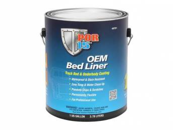 OEM BED LINER, POR-15, Gloss Black, gallon, formulated to provide professional results that out perform non water-based formulas, OEM Bed Liner a water-based, rubberized coating ideal for protecting truck beds, and all other metal, aluminum, fiberglass, a