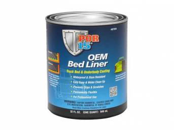 OEM BED LINER, POR-15, Gloss Black, quart, formulated to provide professional results that out perform non water-based formulas, OEM Bed Liner a water-based, rubberized coating ideal for protecting truck beds, and all other metal, aluminum, fiberglass, an