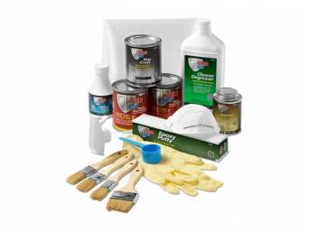 FLOOR / TRUNK PAN RESTORATION KIT, POR-15, a viable alternative to spending hundreds of dollars on replacement metal, includes POR cleaner / degreaser, metal prep, powermesh reinforcing fabric, POR-15 coating (silver and black finish), solvent, top coat (