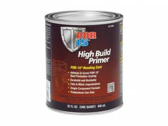 HIGH BUILD PRIMER, POR-15, quart, can be used over POR 15 Coating when another paint color or type or paint is desired, buildable and sandable and easy to apply w/ great interlocking adhesion qualities and very little preparation is necessary to get a top