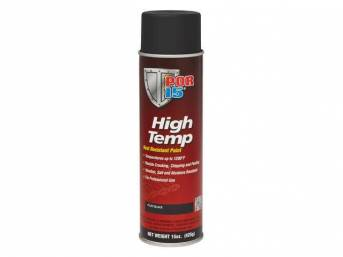 HIGH TEMP COATING, POR-15, Flat Black, 15 ounce aerosol spray can, capable of withstanding extreme temperatures up to 1200 degrees and will resist cracking, chipping, and peeling, sandblasting is the optimum surface preparation before using this product