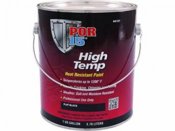 HIGH TEMP COATING, POR-15, Flat Black, gallon, capable of withstanding extreme temperatures up to 1200 degrees and will resist cracking, chipping, and peeling, sandblasting is the optimum surface preparation before using this product