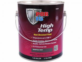 HIGH TEMP COATING, POR-15, Manifold Gray, gallon, capable of withstanding extreme temperatures up to 1200 degrees and will resist cracking, chipping, and peeling, sandblasting is the optimum surface preparation before using this product