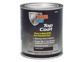 TOP COAT, POR-15, Chassis Black, pint, Top Coat