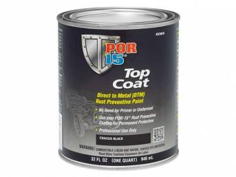 TOP COAT, POR-15, Chassis Black, quart, Top Coat