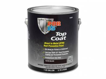 TOP COAT, POR-15, Gloss Black, gallon, Top Coat