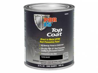 TOP COAT, POR-15, Gloss Black, quart, Top Coat