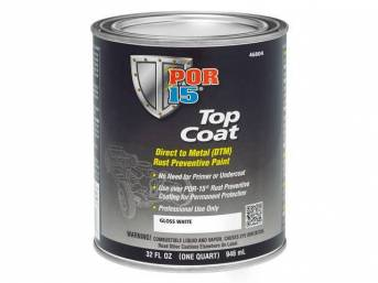 TOP COAT, POR-15, Gloss White, quart, Top Coat