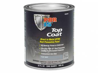 TOP COAT, POR-15, Primer Flat Gray, quart, Top