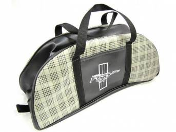 TOTE BAG, PLAID VINYL, RUNNING HORSE IMPRINT, APPROXIMATELY