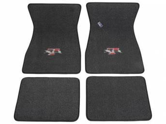 FLOOR MATS, Carpet, raylon weave, black, XR-7 logo