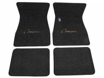 FLOOR MATS, Carpet, raylon weave, black, *Cougar* script