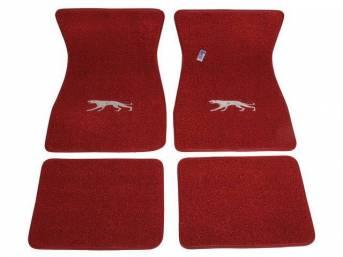 FLOOR MATS, Carpet, raylon weave, red, Cougar cat