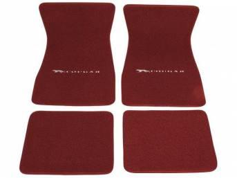 FLOOR MATS, Carpet, raylon weave, red, Cat with