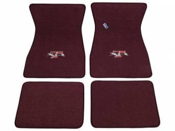 FLOOR MATS, Carpet, raylon weave, maroon, XR-7 logo