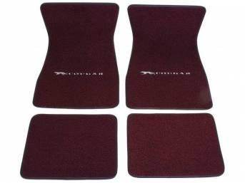 FLOOR MATS, Carpet, raylon weave, maroon, Cat with