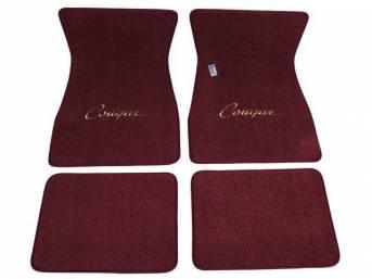 FLOOR MATS, Carpet, raylon weave, maroon, *Cougar* script