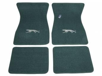 FLOOR MATS, Carpet, raylon weave, aqua, Cougar cat