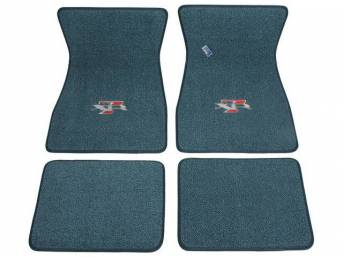FLOOR MATS, Carpet, raylon weave, aqua, XR-7 logo