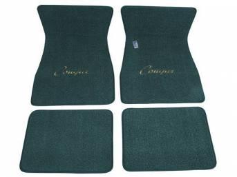 FLOOR MATS, Carpet, raylon weave, aqua, *Cougar* script