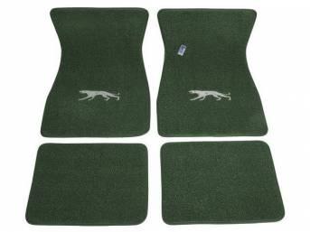 FLOOR MATS, Carpet, raylon weave, medium green, Cougar