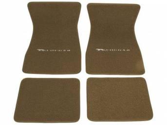 FLOOR MATS, Carpet, raylon weave, parchment, Cat with