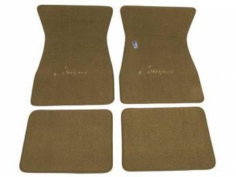 FLOOR MATS, Carpet, raylon weave, parchment, *Cougar* script