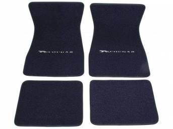 FLOOR MATS, Carpet, raylon weave, dark blue, Cat