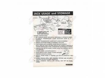 DECAL, TRUCK, JACK INSTRUCTIONS