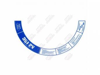 DECAL, AIR CLEANER, 351C-2V