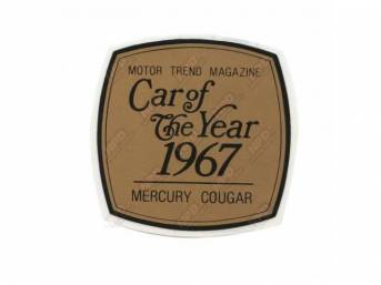 DECAL, WINDOW, MOTOR TREND MAGAZINE 1967 CAR OF THE YEAR