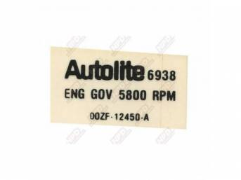 DECAL, ENGINE COMPARTMENT, REV LIMITER
