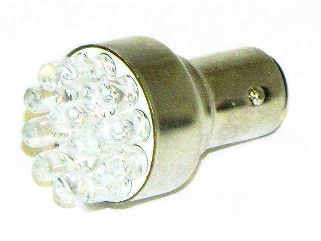 BULB, 1156, WHITE LED, 12 DIODES, SINGLE CONTACT