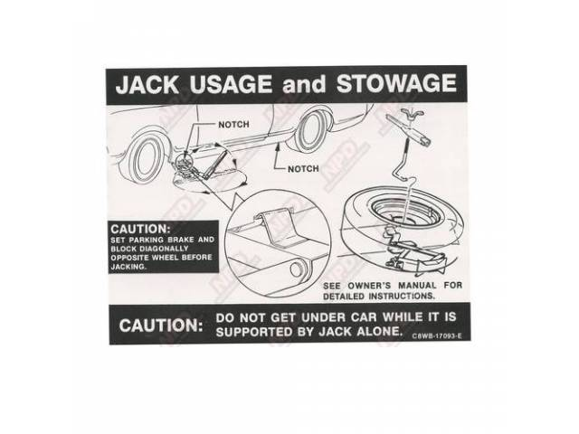 DECAL Trunk Jack instructions C8WB-E