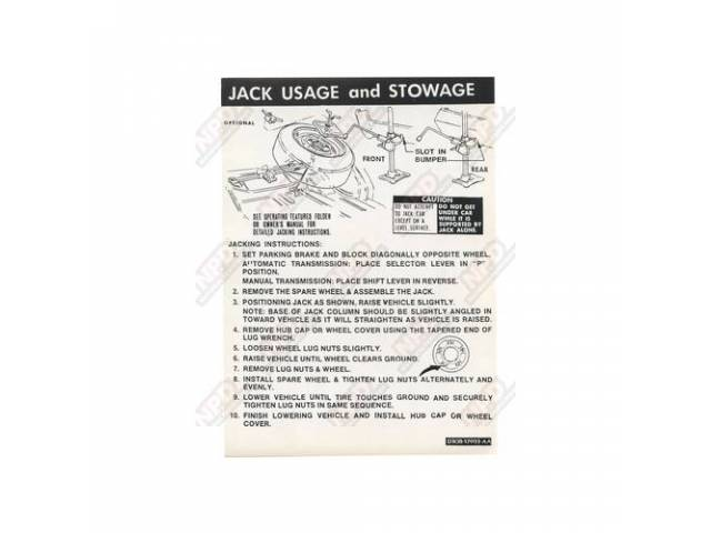 DECAL Trunk jack instructions D3OB-AA