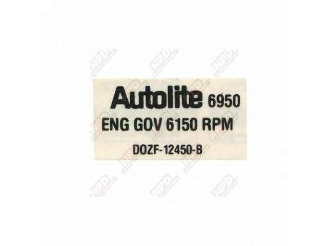 DECAL Engine Compartment Rev limiter D0ZF-B